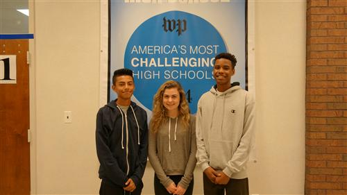IB students Manny Sanchez,  Claire Toomey, and Ray Bernard
