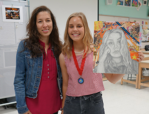 Studio Art Teacher Claudia O'Connor and her student Dori Valentine