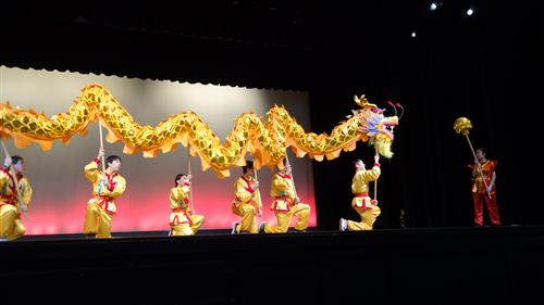 Chinese School students perform dragon dance