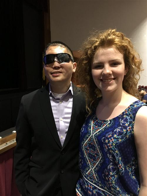 Motivational speaker Gabe Hurley spoke to the student assembly. He is pictured with senior Mackenzie Welsh.