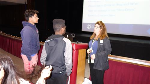 Tracy Nerney, R.N., B.S. The Jersey Shore Trauma Injury Prevention Coordinator, talks to RBR students