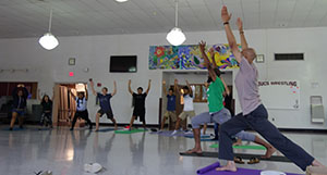 KYDS principals Rodney Salomon and Mychal Mills introduce RBR students to the basics of Yoga