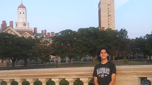 RBR rising senior Brad Chavero of Red Bank, stands in front of Harvard University