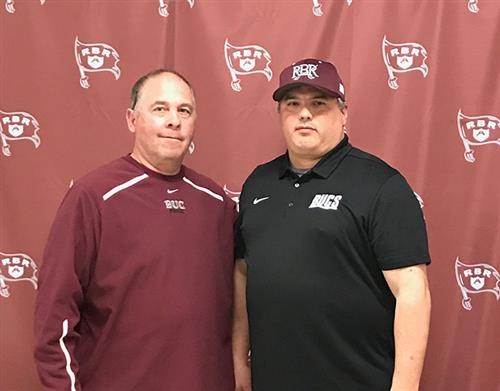 Pictured are RBR Athletic Director Del Dal Pra and RBR's new head football coach Dave Schuman