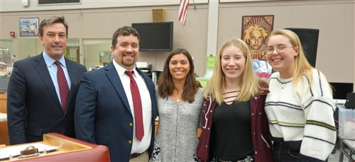 RBR technology students were honored at a recent Board of Education meeting for winning the Girls Go Cyberstart/Cisco contest