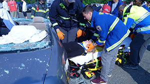 Little Silver EMS assists RBR's Theresa Decker in a mock crash