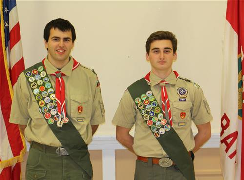 RBR students and Red Bank Troop 67 scouts (pictured left to right) Zackary Forest and Michael Maier, Jr.,