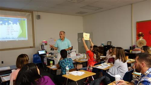 TPRS method for language instruction inventor, Blain Ray demonstrates his method of teaching language acquisition to a room