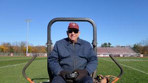 Frank (Dusty) Bublin is pictured mowing the RBR football field,