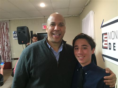 RBR junior, Elijah Nishiura of Red Bank is pictured with Senator Corey Booker