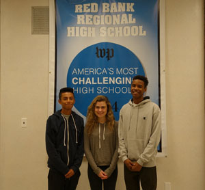 IB students Manny Sanchez, Claire Toomey and Ray Bernard