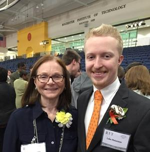 RBR technology teacher Mandy Galante is pictured with her former student Luke Matarazzo