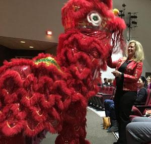 Principal Risa Clay welcomed the students of The Jersey Shore Chinese School, and the Lion