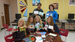 RBR students created holiday cards for the children at St. Jude's Hospital