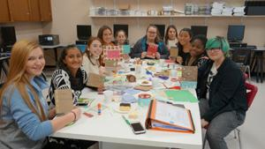 students create holiday cards for hospitalized children
