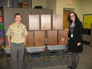 Joe Ferguson with Asbury Park Music teacher and his cajon drums, his Eagle Scout project