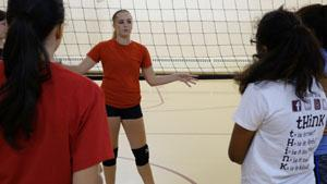 Gabby Lopez Instructs Incoming RBR Freshman on Volleyball
