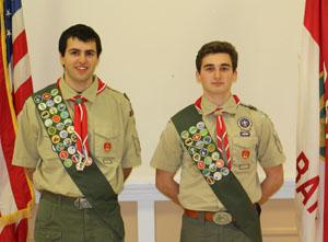 RBR students and Red Bank Troop 67 scouts Zackary Forest and Michael Maier, Jr.